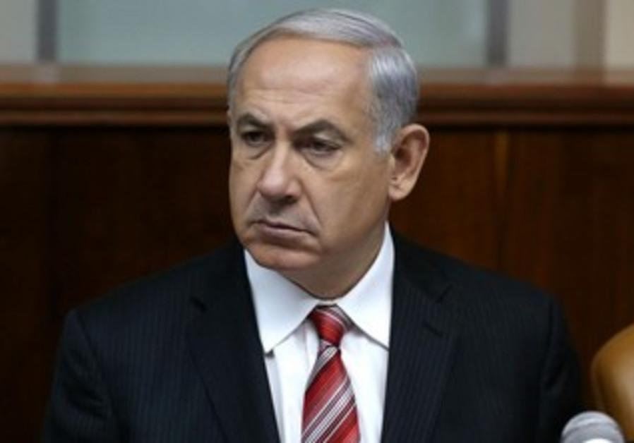 Prime Minister Binyamin Netanyahu at the weekly cabinet meeting, April 21, 2013.