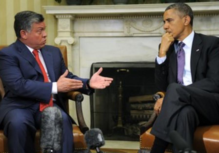 US President Barack Obama and Jordan's King Abdullah April 26, 2013