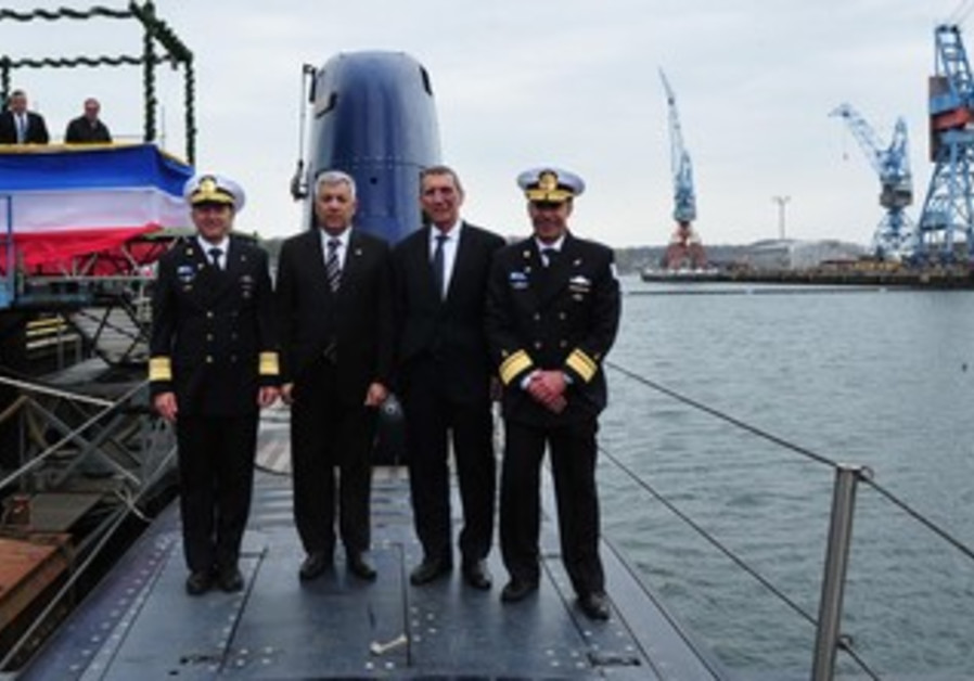 Israel's 5th Dolphin submarine unveiled in Germany, April 29, 2013.