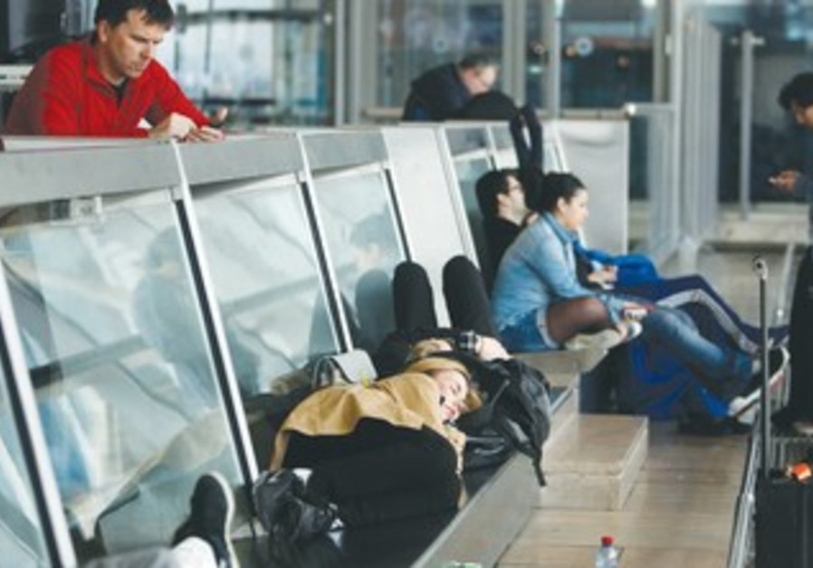 Airport passengers waiting for flight