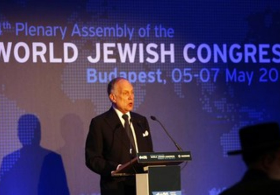Ronald Lauder speaks at the World Jewish Congress conference in Budapest, May 5, 2013.