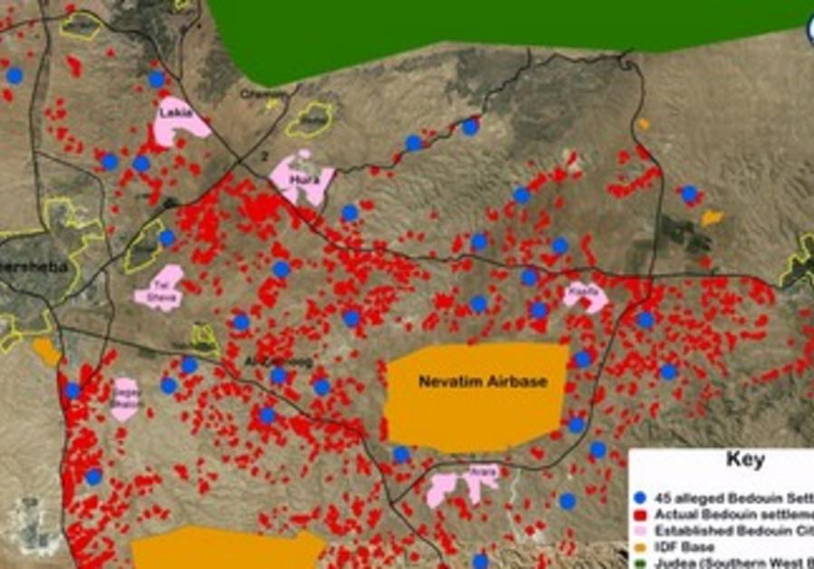 Beduin settlement map from Regavim