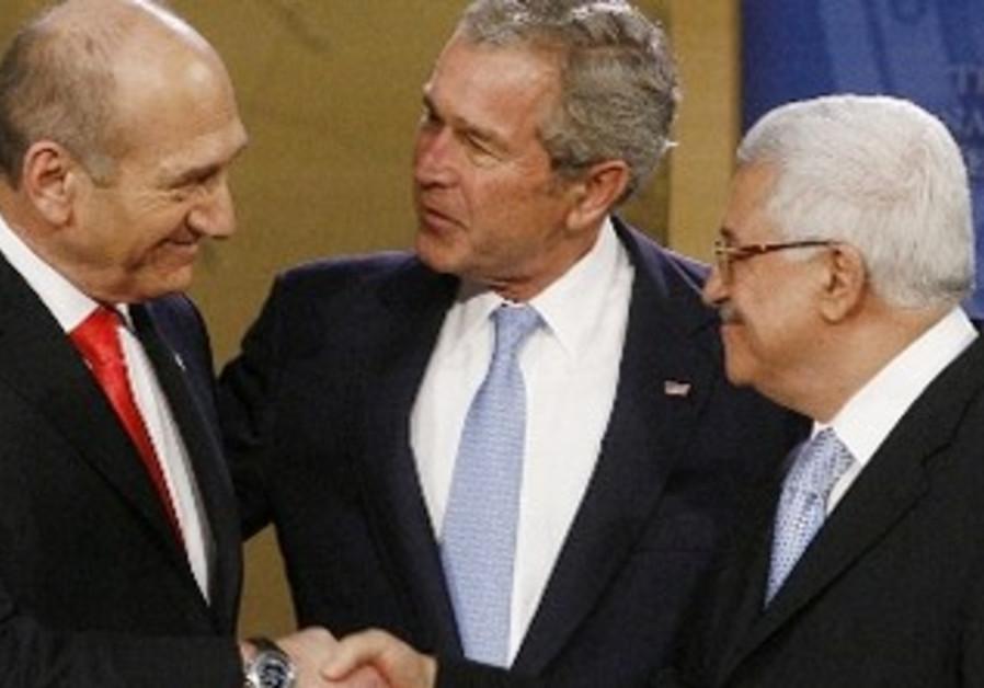 Former PM Ehud Olmert, Former US president George W. Bush, PA President Mahmoud Abbas