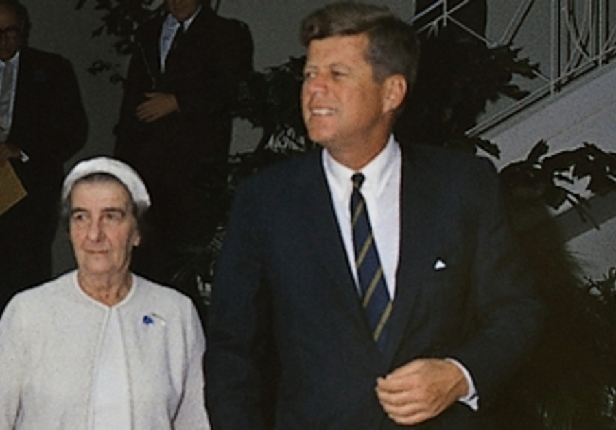 Golda Meir and John F Kennedy meeting in the US, December 1962.