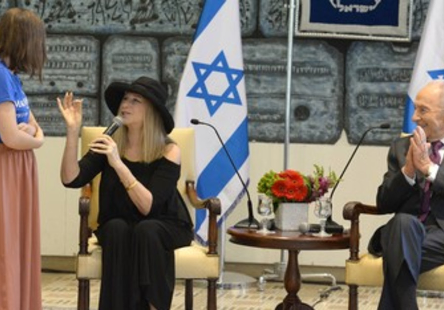 Streisand and Peres with Make a Wish children in Jerusalem, June 17, 2013