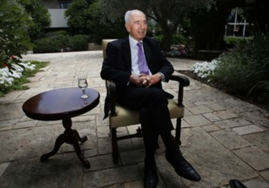 President Shimon Peres at his residence in Jerusalem, June 17, 2013.