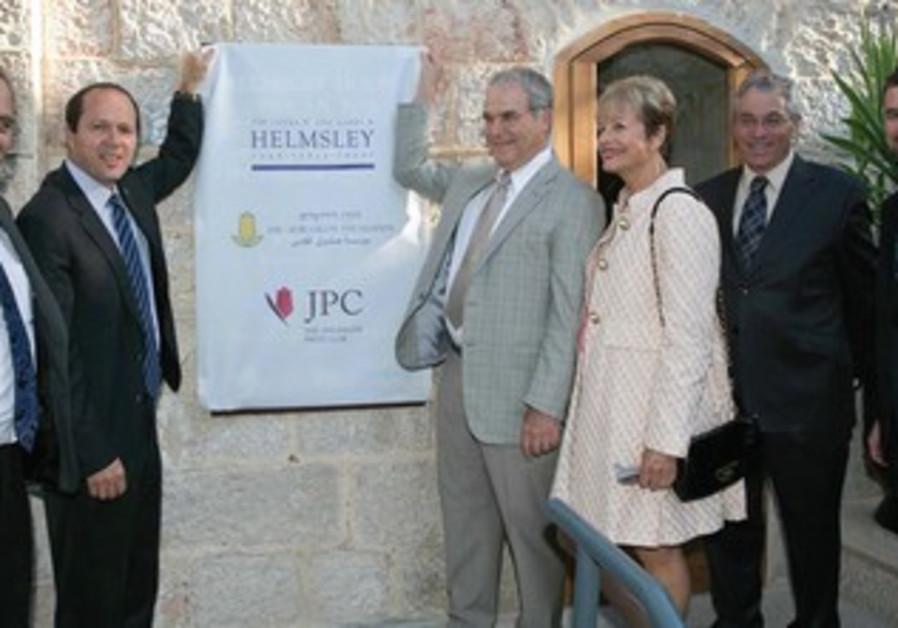 SANDOR FRANKEL (center) of the Helmsley Charitable Trust opens the Jerusalem Press Club on Sunday.