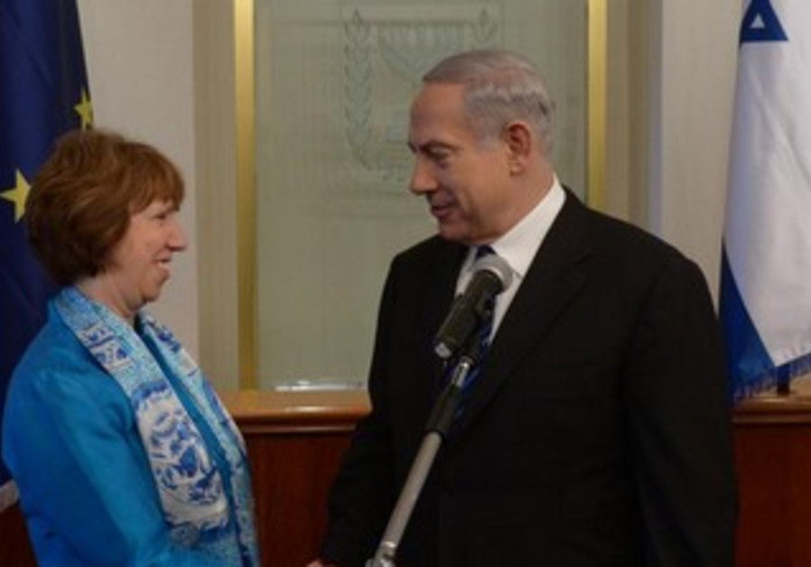 Netanyahu at meeting with Catherine Ashton, EU High Rep for Foreign Affairs, June 20, 2013.