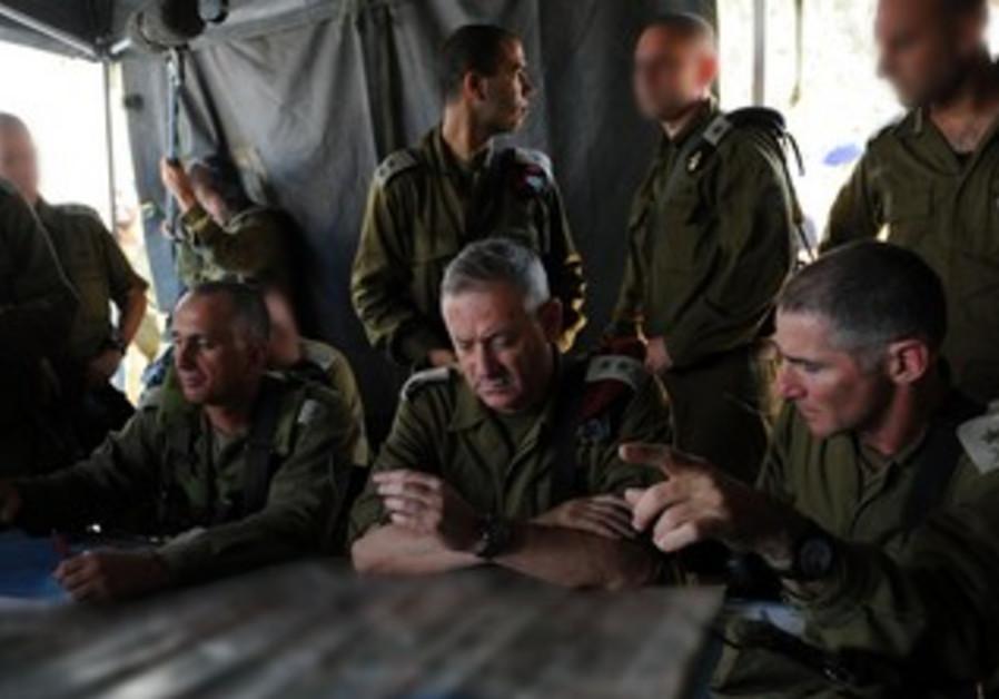 IDF Chief of Staff Benny Gantz during the surprise IDF drill, June 23, 2013.