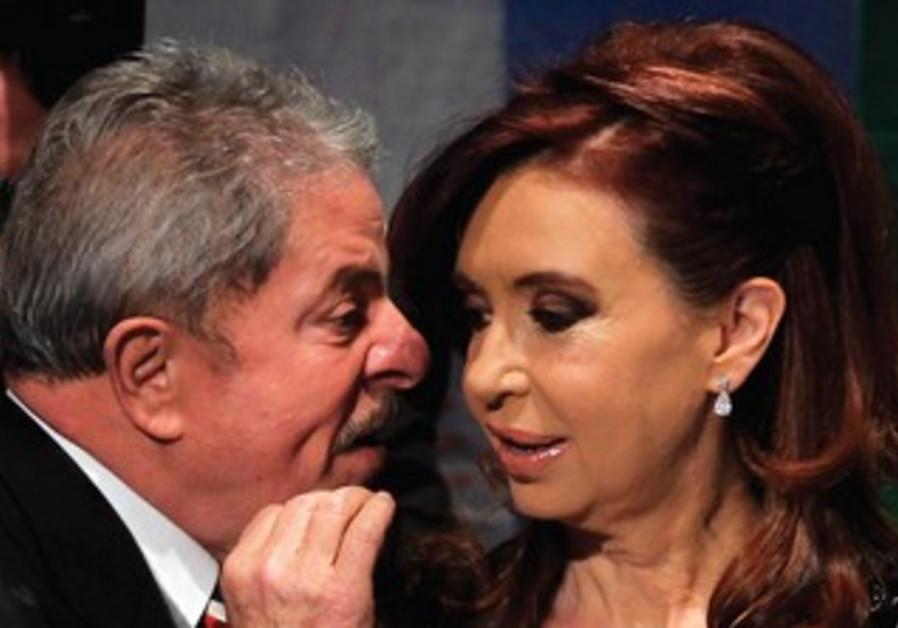 ARGENTINA'S PRESIDENT Cristina Fernandez de Kirchner meets with former Brazilian president.
