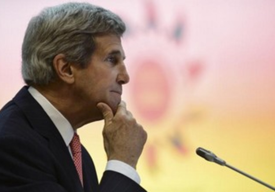 US Secretary of State John Kerry looking thoughtful a day after leaving the Middle East.