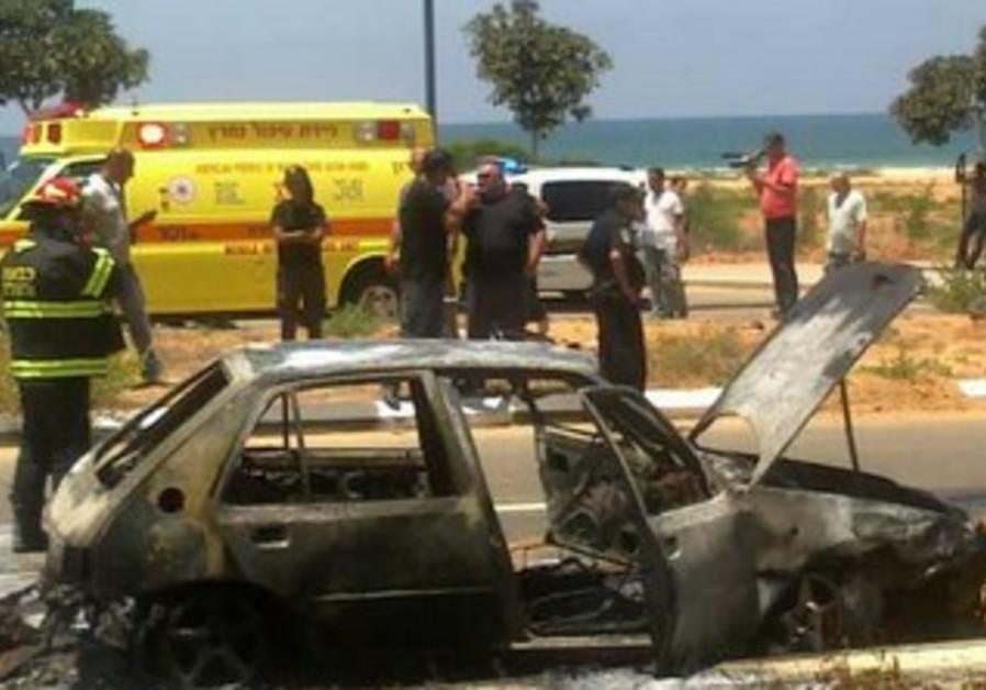 Car following explosion, July 5, 2013