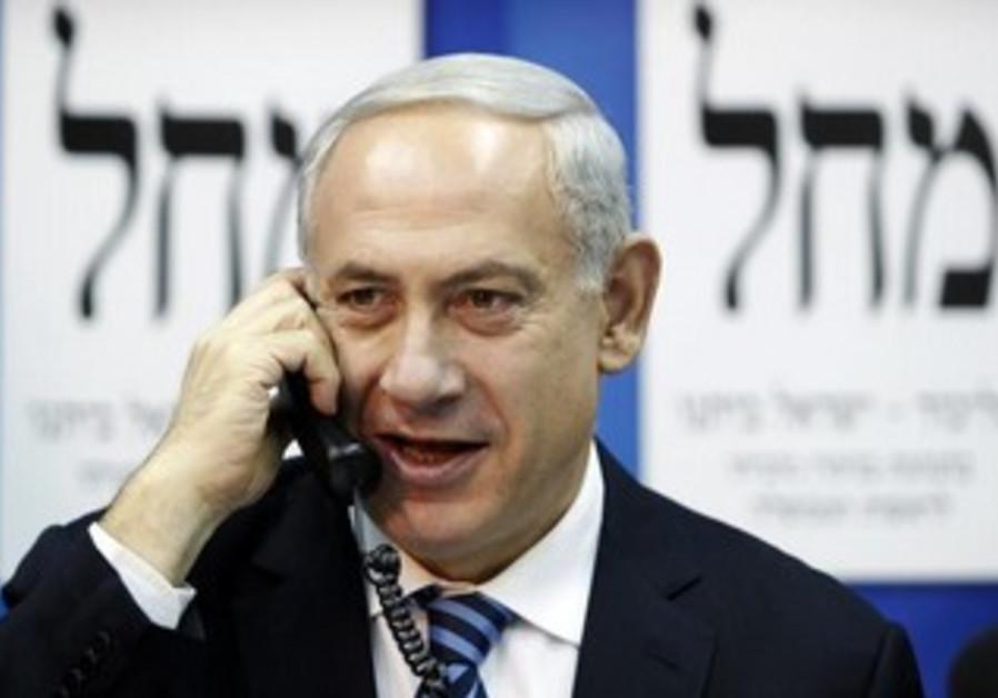Netanyahu makes a phone call.