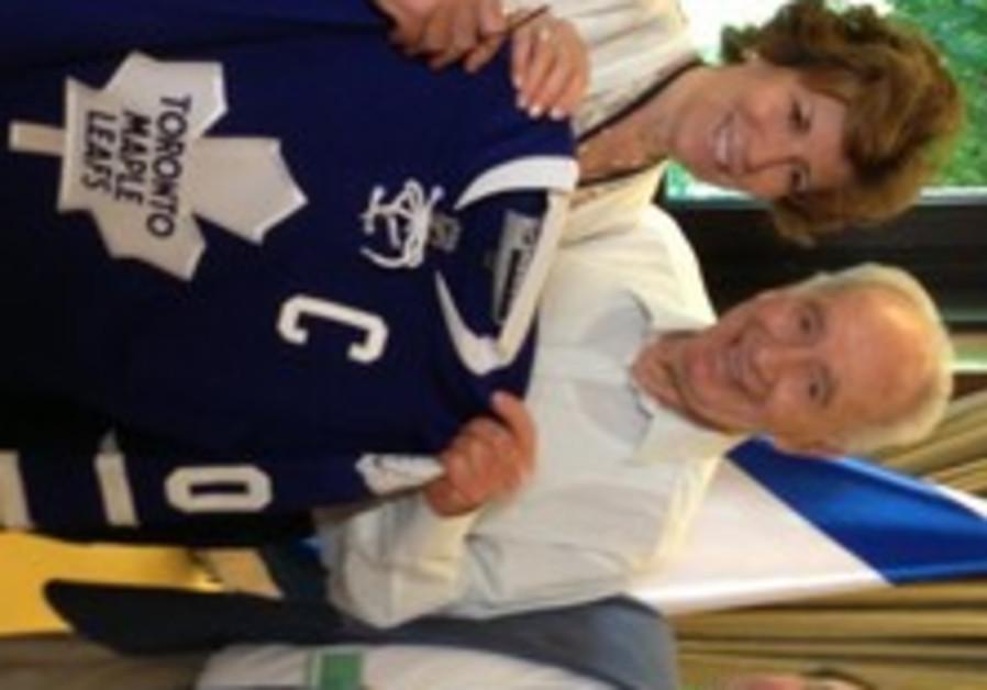Shimon Peres, Gary Bettman, and Larry and Judy Tanenbaum