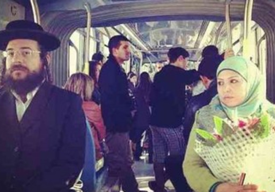Passengers on the light rail.