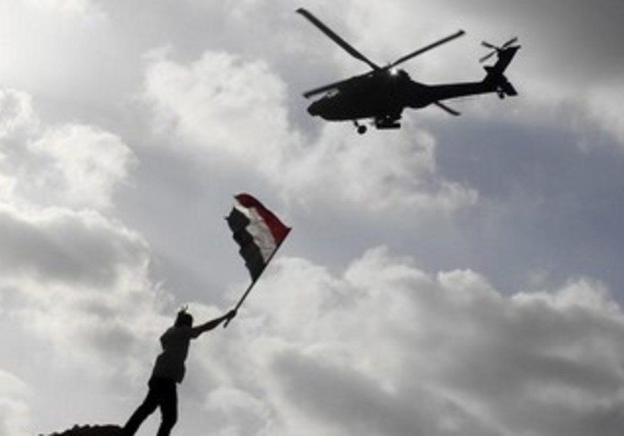 An Egyptian military helicopter flying over Alexandria [file].