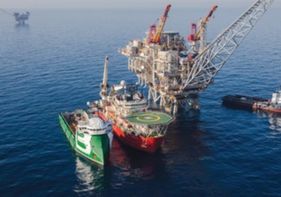 The Tamar gas processing rig off the coast of Israel