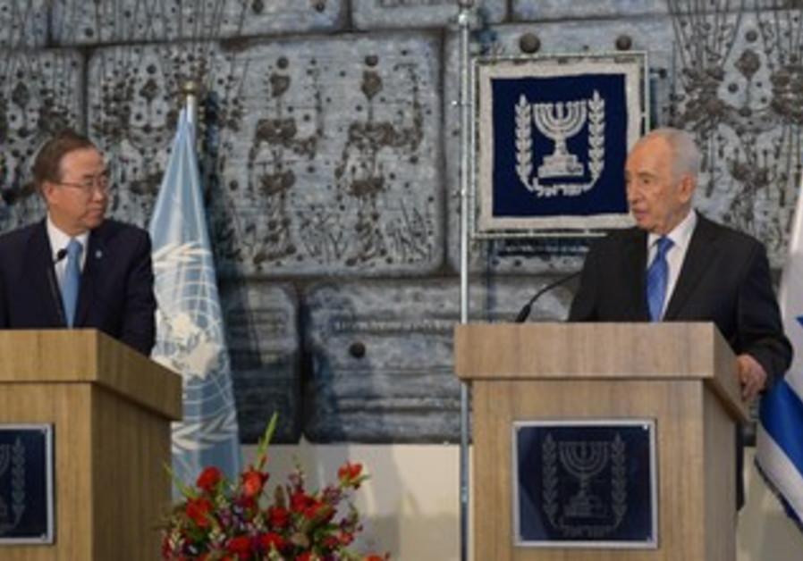 UN Secretary-General Ban Ki-moon and President Shimon Peres, August 16, 2013.