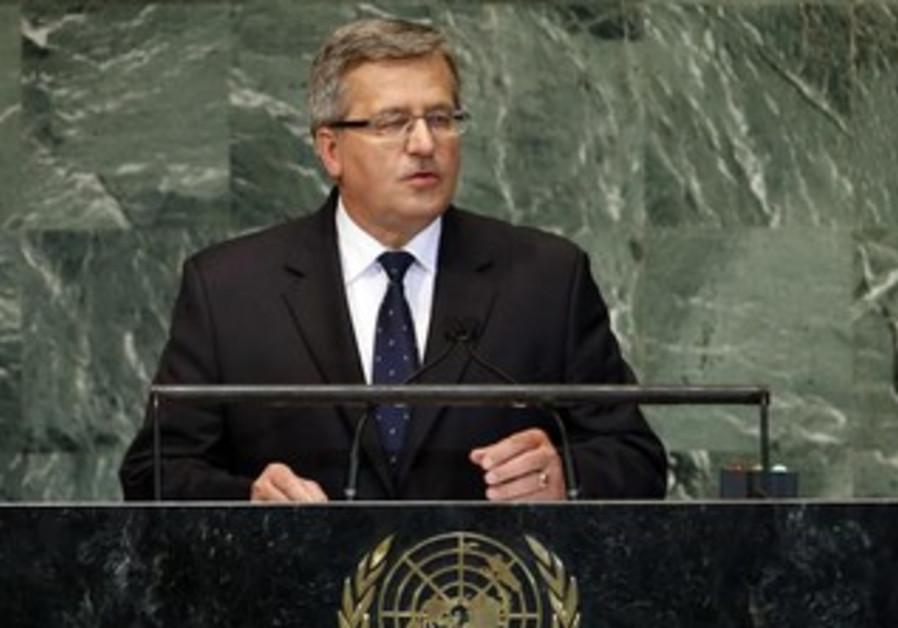 Polish President  Bronislaw Komorowski  addresses the UN, September 26, 2012.