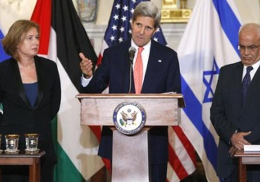 Tzipi Livni, John Kerry, and Saeb Erekat