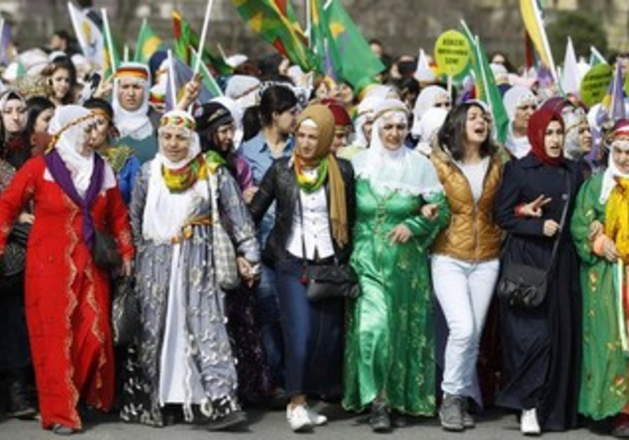 Women protest for gender equality in Turkey March 10, 2013.