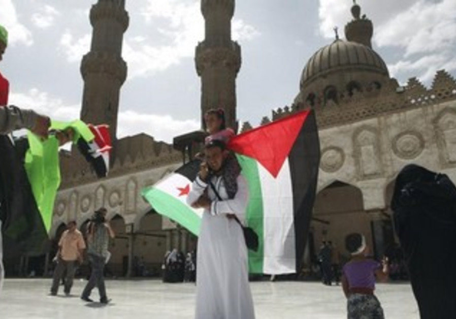 A man cholds Palestinian, free Syrian flags in Al-Azhar mosque at the mosque in Cairo May 10, 2013.