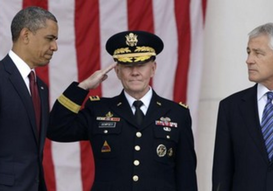 US President Barack Obama, General Martin Dempsey and US Defense Secretary Chuck Hagel.
