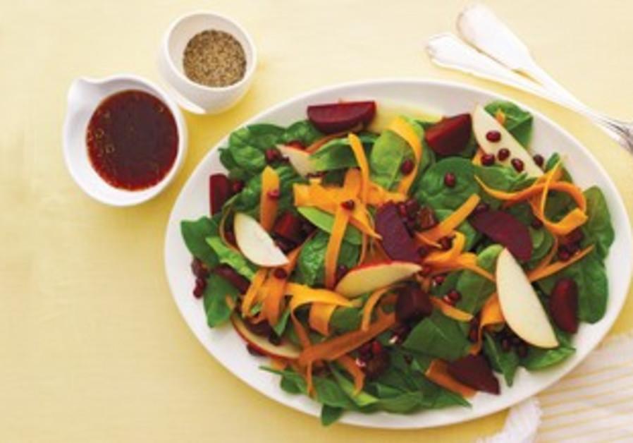 Simanim Salad with Pomegranate Balsamic Dressing