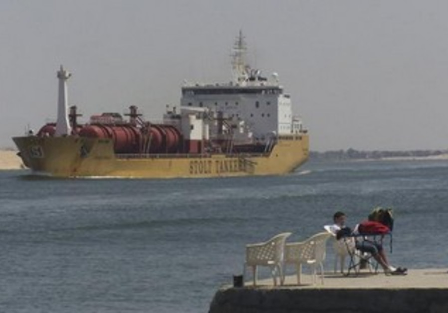 A ship crossing the Suez Canal [file].