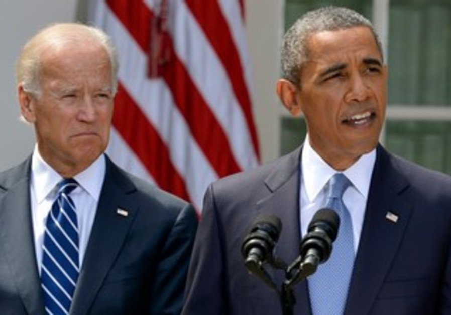 President Barack Obama speaks about Syria next to VP Joe Biden at the White House, August 31, 2013.