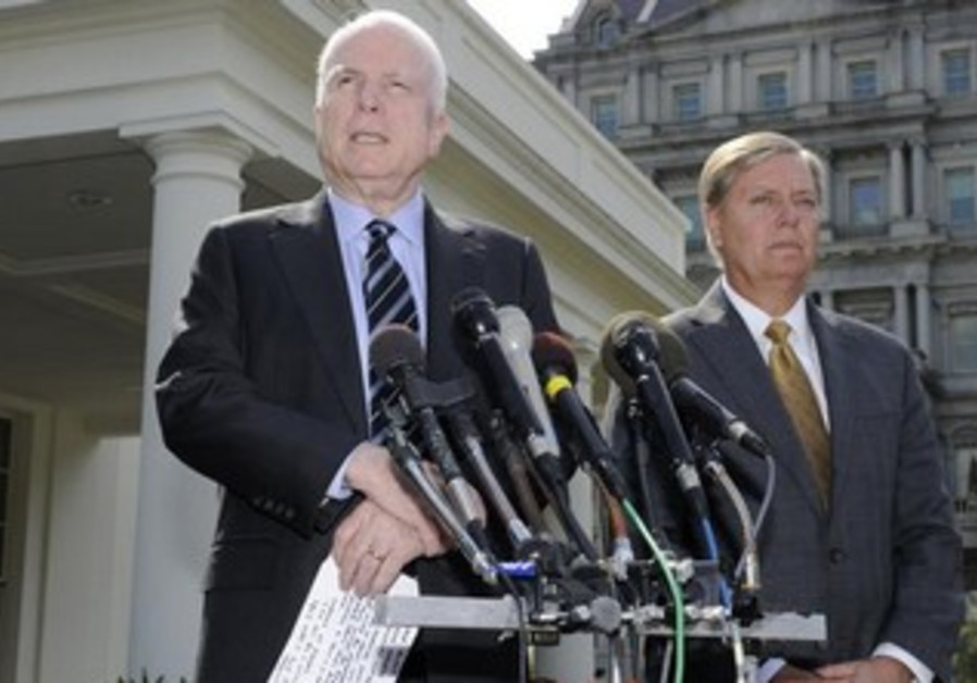 Republican Senators McCain and Graham following White House meeting with Obama on Syria, Sept. 2