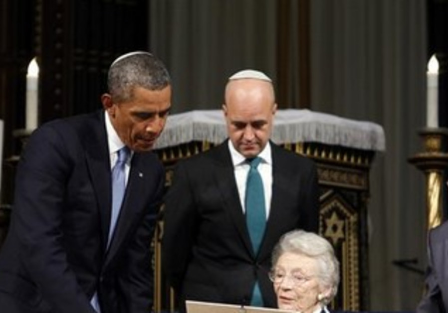 US President Obama in Stockholm's Great Synagogue.
