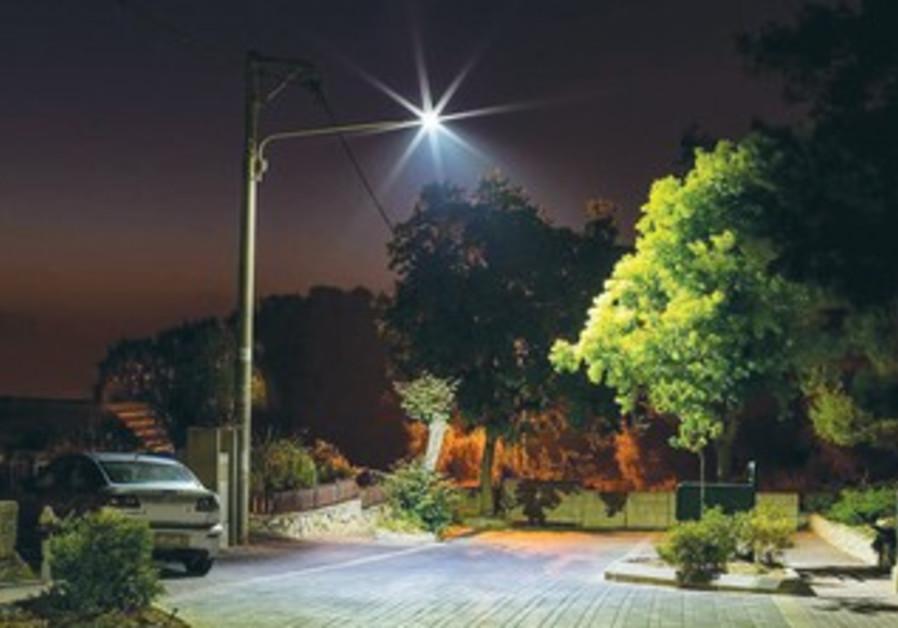 A LED bulb illuminates a street in Ma'alot-Tarshiha.