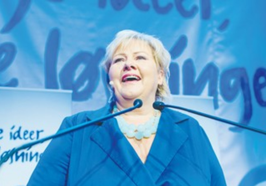 NORWEGIAN CONSERVATIVE LEADER Erna Solberg addresses supporters, Sept 9