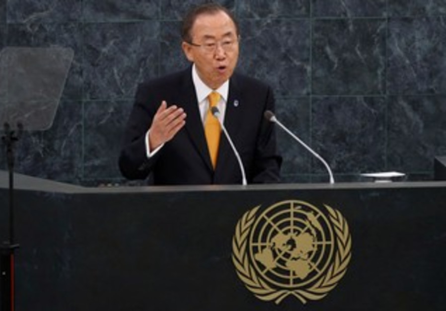 UN Secretary General Ban Ki-moon addresses the opening of the UN General Assembly, Sept. 24, 2013.