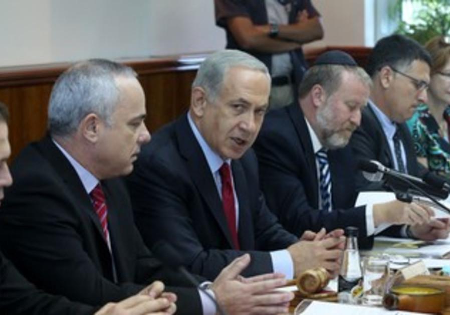 Prime Minister Binyamin Netanyahu attending the weekly cabinet meeting in Jerusalem, October 6, 2013