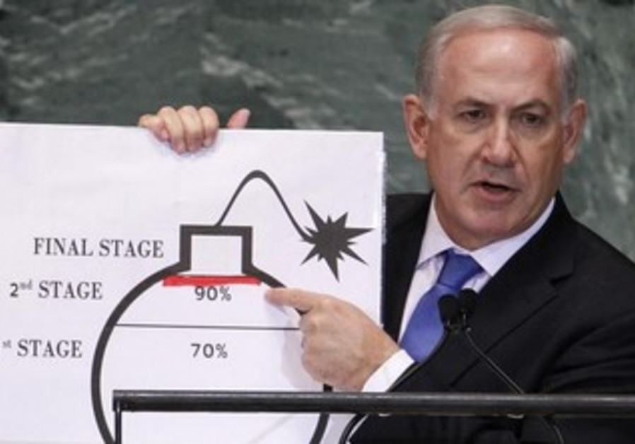 PM Binyamin Netanyahu at the 2012 UNGA points to a graphic used to represent Iran's nuclear program.