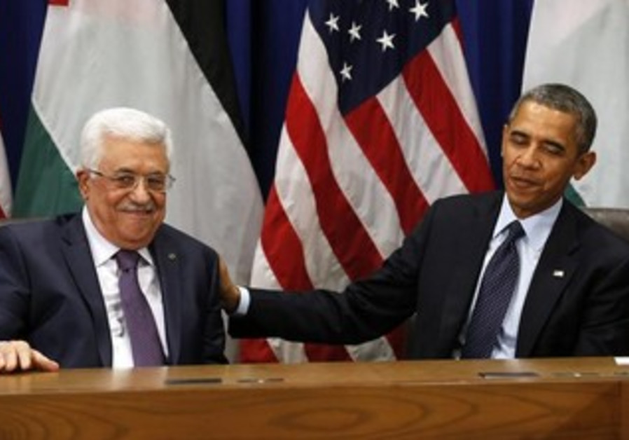 Palestinian Authority President Mahmoud Abbas with US President Barack Obama.