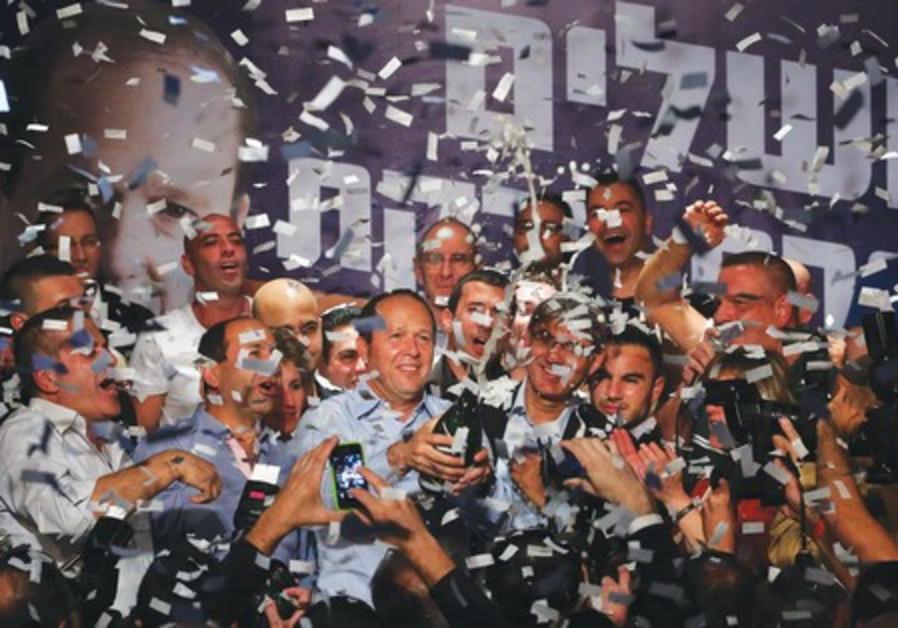 Nir Barkat celebrates election victory.