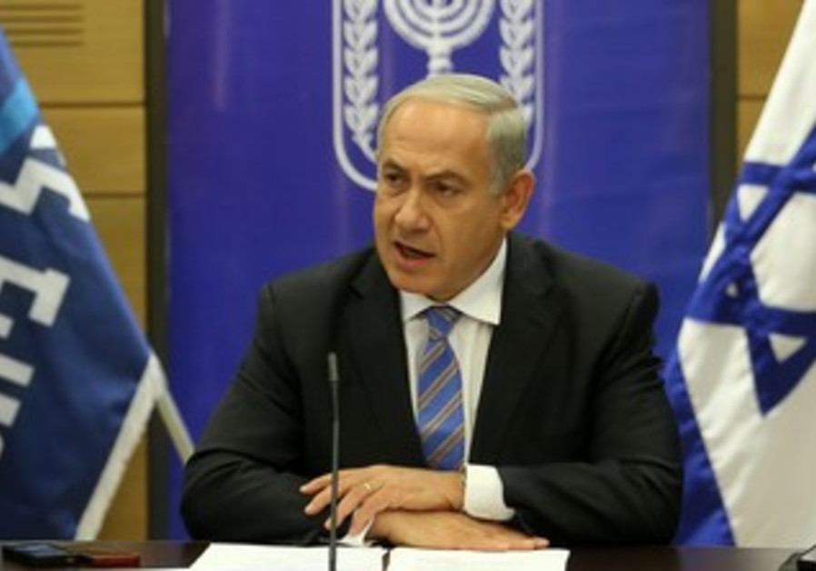 Prime Minister Binyamin Netanyahu during a Likud-Beytenu faction meeting on October 28, 2013.