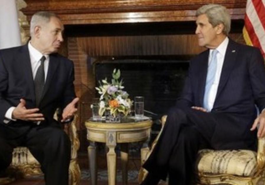 Netanyahu and Kerry at Rome's Villa Taverna.