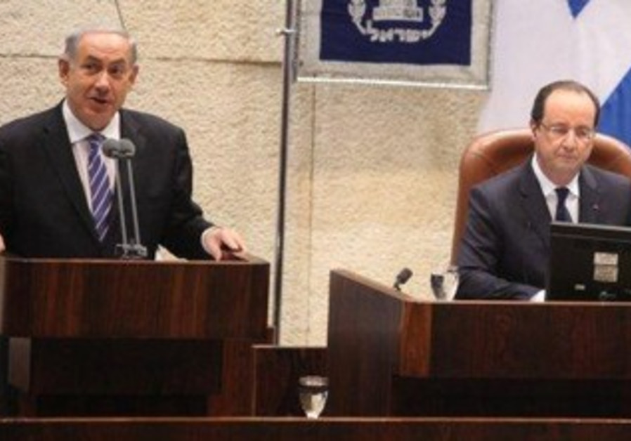 Prime Minister Netanyahu speaking at special Knesset session with French President Hollande.