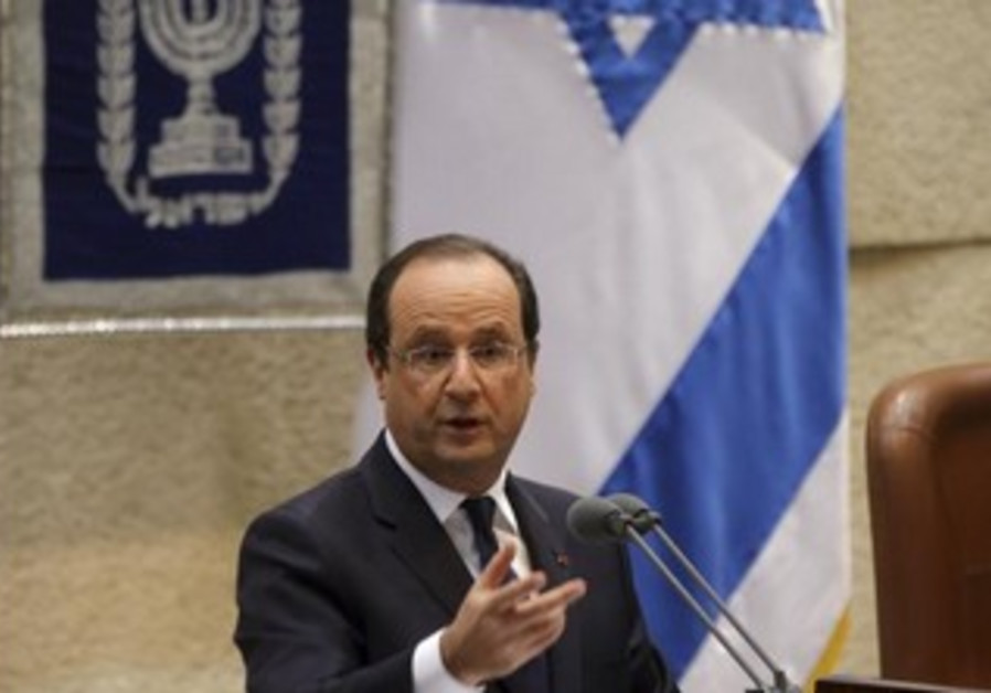 French President Francois Hollande delivers a speech at the Knesset, November 18, 2013.