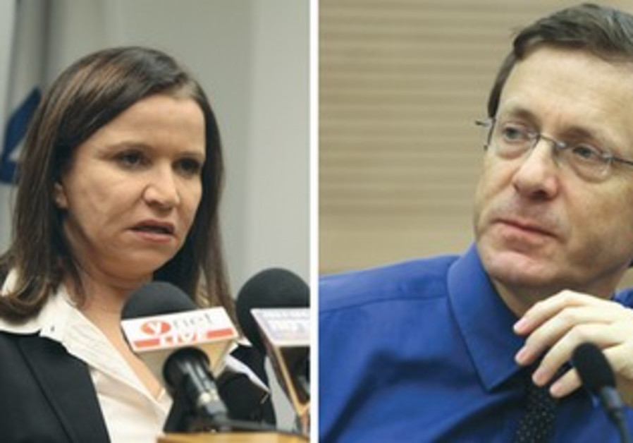 Labor leader Shelly Yacimovich and contender Isaac Herzog.
