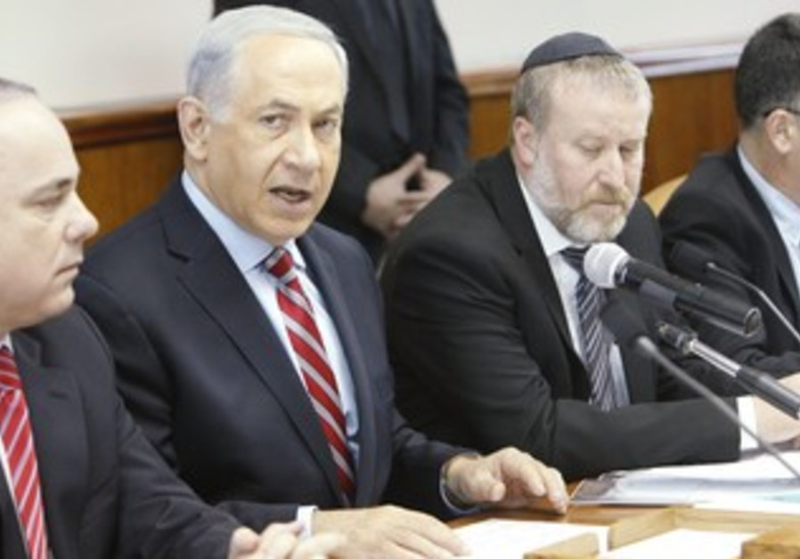 Prime Minister Netanyahu at Sunday's cabinet meeting