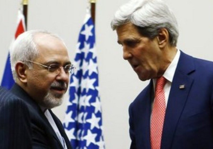 US Secretary of State Kerry shakes the hand of Iranian counterpart Zarif in Geneva, Nov 24, 2013.