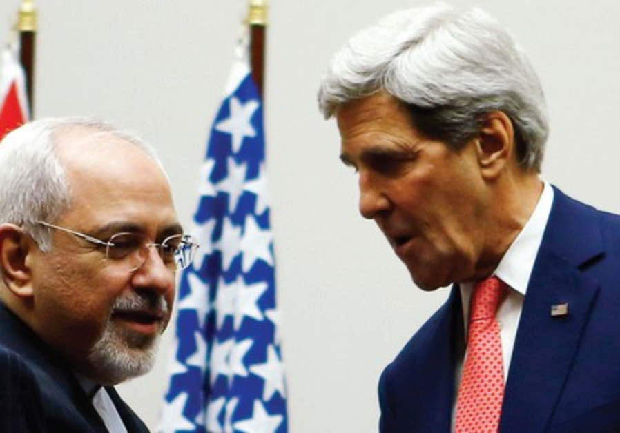 US Secretary of State John Kerry shakes hands with Iranian Foreign Minister Mohammad Javad Zarif