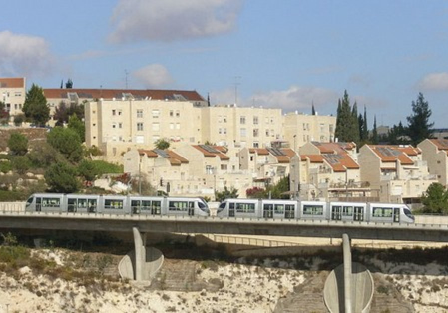 The light rail is seen running past Pisgat Ze'ev.