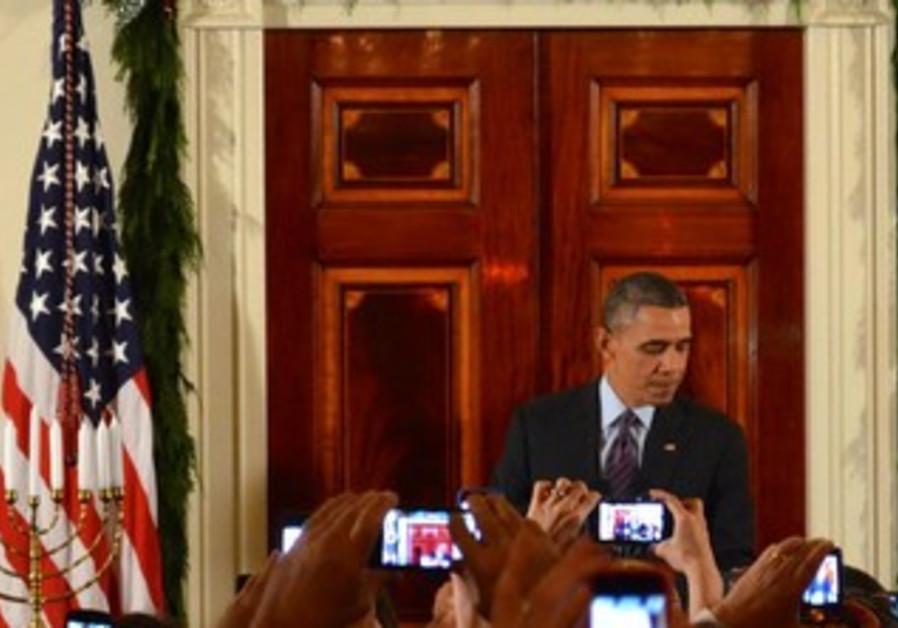 US President Barack Obama with Menorah, Hanukkah 2013.