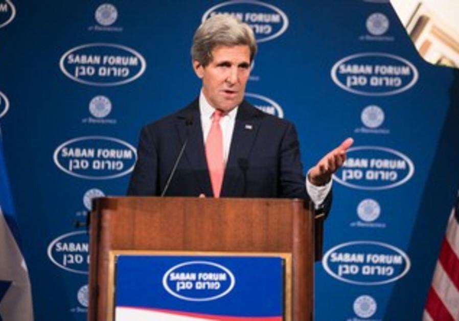 US Secretary of State John Kerry addresses the Saban Forum in Washington, December 7, 2013.